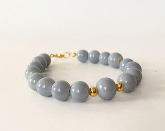 Gray and Gold Beaded Bracelet
