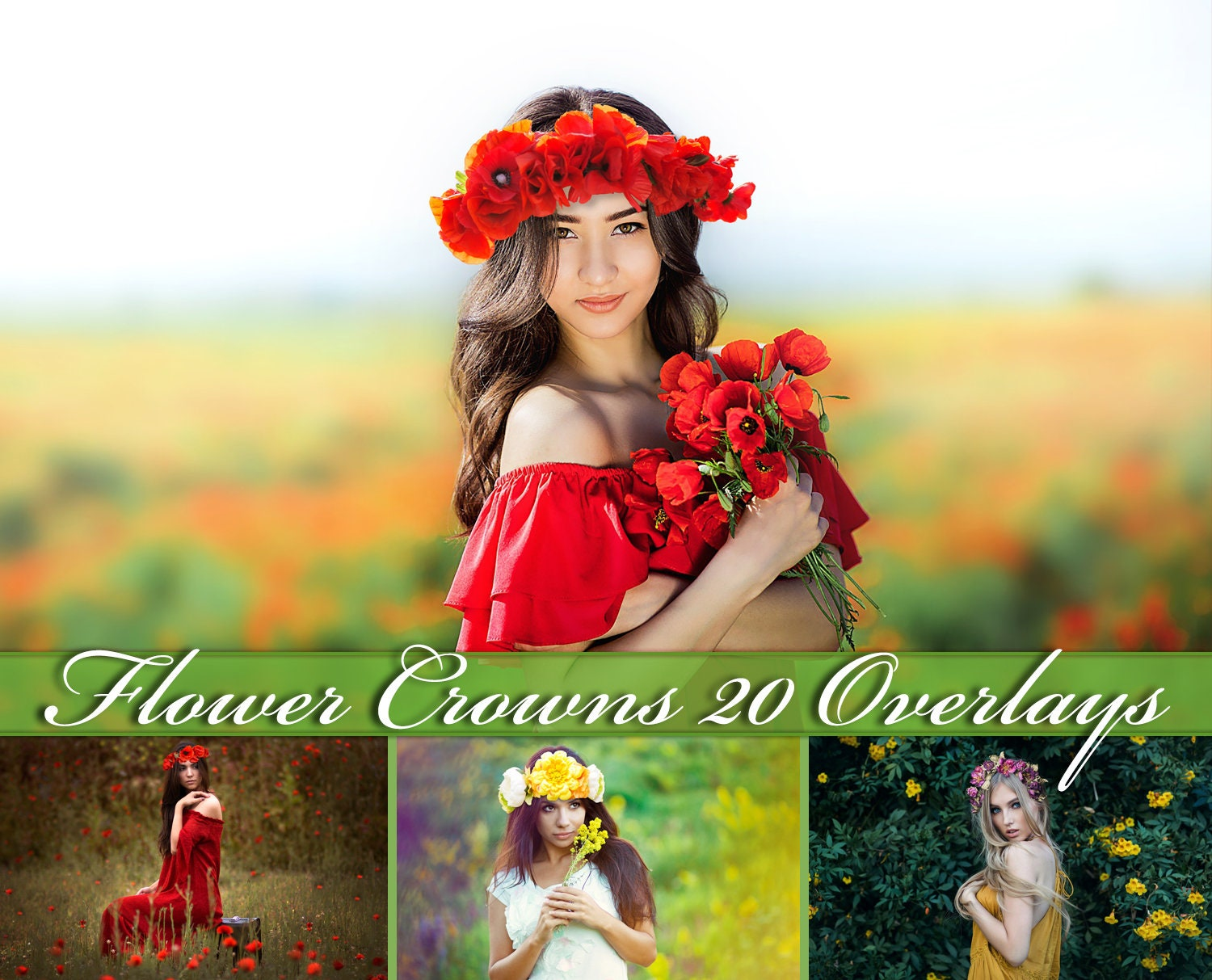 20 Floral Head Wreaths Overlays Flower Crown Photoshop