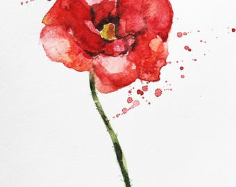 Print of Watercolor, Poppy Flower art, Painting Flowers, Poppy art, nature botany art, wall art, flowers watercolor, Print Art, wall print