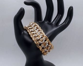 Bronze and Silver European 4-in-1 Chainmaille Bracelet ***Limited Edition***