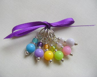 Rainbow Round Stitch Markers for Knitting or Crochet