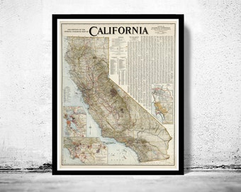 Vintage Map of California 1926