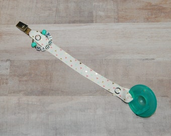 Pacifier Clip Tiny Triangles Coral, Mint & Gold, Personalization Available, Ready to Ship, Free USA Shipping