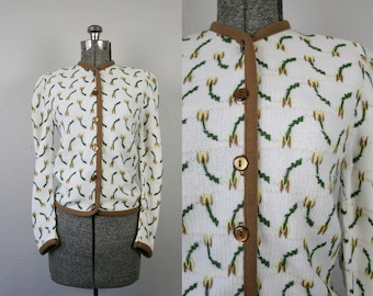 1950's Knit Tulip Cardigan / Size Small