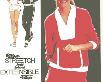 Retro jogging outfit Athletic exercise Shorts pants and pullover top sewing pattern Simplicity 9041 Sz 6 to 10