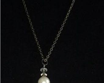 Pearl/Bronze Fringe Necklace