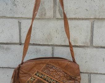 Tan and Metallic Avante Garde Leather Shoulder Bag