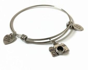 Camera Expandable Bracelet Photographer Stacking Bracelet Photography Charm Bangle Bracelet Camera Adjustable Bracelet Wire Bangle Bracelet