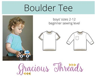 Boulder Tee pdf sewing pattern 2t-12