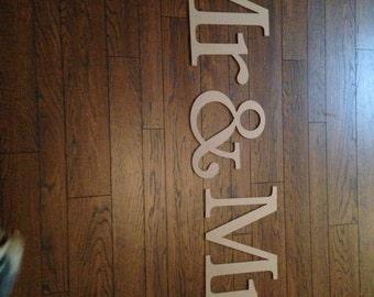 Mr & Mrs wooden wedding sign, unfinished