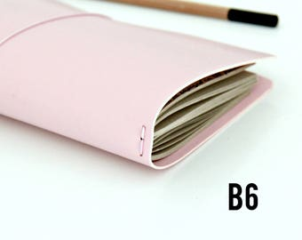 B6 Travelers Notebook // B6 Slim Fauxdori Cover// Midori Travelers Notebook Cover // Midori Cover / Journal Pretty Pale Pink, B6 Slim Size