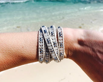 Snow Frost Wrap Bracelet and Stone Set