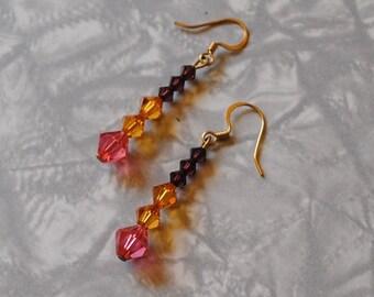 Warm crystals earrings