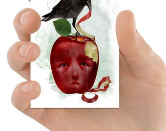ACEO Card | Blackbird & Apple | Artist Trading Card | ACEO Print | ATC | An Apple A Day