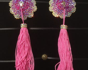 Rosy Flower AB Crystal Rhinestone Burlesque Pasties with Chainette Tassels