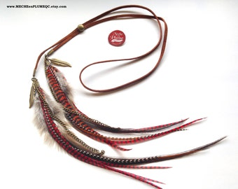 Headband Leather and Feathers/ Brown Leather/ Red grizzly feathers/ Headband ajustable