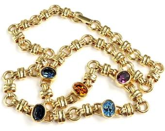 Vintage Necklace Swarovski Company 1980s Oval Crystal Station Gold Plate Blue Purple Orange