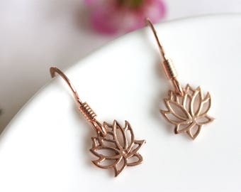 Petite Lotus Earrings, Rose Gold Plated Over Sterling Silver