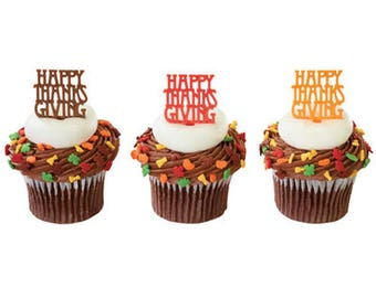 12 Happy Thanksgiving Cupcake Picks Fall Autumn Toppers Party Favors