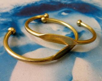 Raw Brass Cuff Bangle Bracelet with ID Blank 1074RAW x1