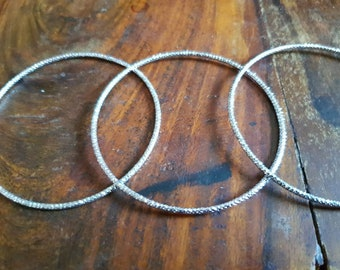 Stacker bangle blanks UK seller silver coloured micro faceted sparkle singly or in sets make your own stackable stacking add a charm