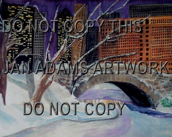 NYC Central Park Gapstow Bridge Winter City New York Plaza Hotel Snow Landscape Watercolor Painting Manhattan Plaza Hotel Unmatted Unframed