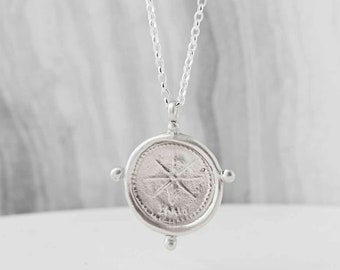 North Star Necklace Sterling Silver - Guiding Star Pendant Necklace with Secret Message Engraved on Back, Ideal Graduation Necklace 2018
