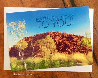 Pilbara Birthday Card, Happy Birthday Card, Outback Birthday Card, Pilbara Landscape Card, Australian Landscape Card, Murujuga Park, Burrup