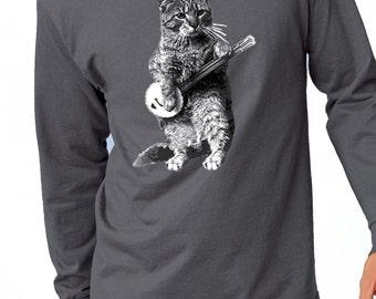 banjo tshirt - cat tshirt - mens tshirt - cat shirt - banjo shirt - cat gifts - cat lover gift -cat lover -music gift -BANJO CAT-long sleeve
