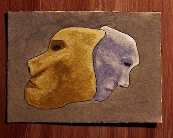 ACEO. Trading card. 'Boy meets Girl.' Original watercolour.