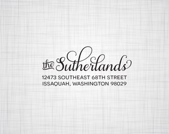 Simple Script Personalized Return Address Stamp, Wedding Return Address Stamp, Self Inking Stamp, Wood Mounted Rubber Stamper, Custom Stamp