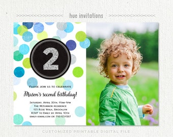 2nd birthday invitations for boys with photo, second birthday party printable photo invitation, silver glitter lime green navy blue confetti