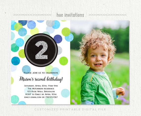 Second birthday invite demirediffusion 2nd birthday invitation boy blue green silver glitter second filmwisefo