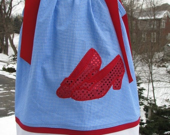 ruby red slippers Inspired  pillowcase dress,dorothy pillowcase dress,  birthday pillowcase dress, wizard of oz birthday