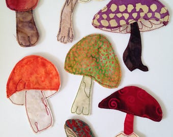 Mushrooms, wild mushrooms, fabric, individual appliqués, batik fabric, thread stitched, for your sewing or art projects, journal covers, art