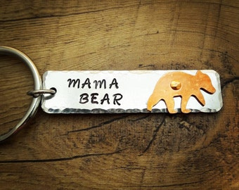 Mama Bear Hand Stamped Keychain with Bear design - Key Chain for Mom Mother