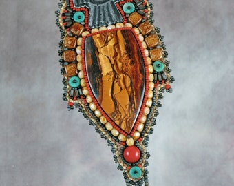 Necklace, Thunderbird, Tiger Eye, Beaded, Bead embroidered, Turquoise, Embroidered Necklace