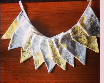 Baby bunting banner in Yellow Gray and White