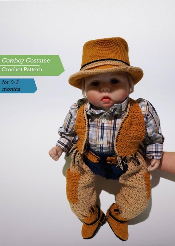 & Infant Cowboy Crochet Costume Pattern PDF Cowboy Costume