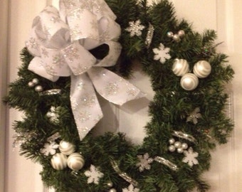 Silver and White Snowflake Holiday Wreath