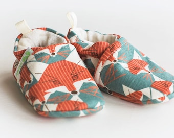 Organic Knits Charley Fox / All Fabric Soft Sole Baby Shoes / Made to Order / Babies