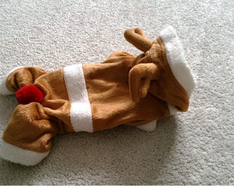 Small Dog Clothes Christmas warm hoodie Chihuahua apparel Reindeer costume Size - XS Last one
