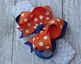 Baby Headband Auburn Inspired Royal Blue and Orange Infant Toddler Auburn Inspired Baby Bow Headband Auburn Inspired Headband