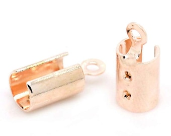 50 or 100 pcs. Rose Gold Plated Crimp End Tips Caps with Loop - 12x5mm - Fit 4mm Cords!