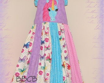 Girls UNICORN PRINCESS Dress - Butterfly Dreams - ready to ship - fits aprox size 8/9 9/10 + -- Birthday Party - Pageant - Ruffles