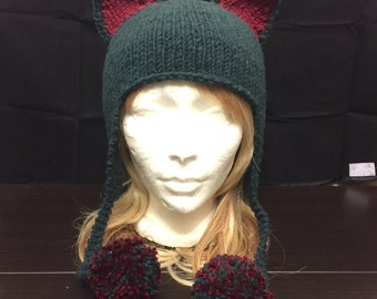 Earflap hat with animal ears