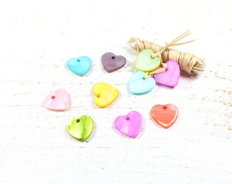 10 pendants / charms heart multicolor natural shell Pearl approximately 11-12mm x 11-13mm