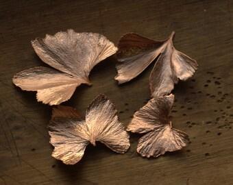 Ginkgo leaf pendant, natural leaves copper electroformed, electroforming,botanical jewelry,electroplated woodland necklace, druid pendant