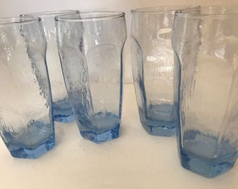 """Vintage  Set of (8)  Libbey """"Chivalry"""" Blue tall tumbler Glasses- 14 Ounces"""
