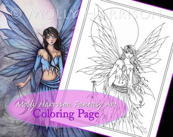 Lunetta - Coloring Page - Printable - Fantasy Fairy Art - Molly Harrison Fantasy Art - Digistamp - Digi Stamp, fairies, faery